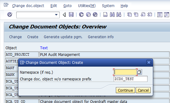 Create Change document Object