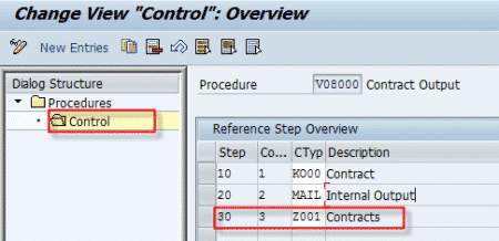 NACE Output Type Procedure Control