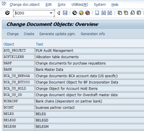 SCDO- Change Documents Object