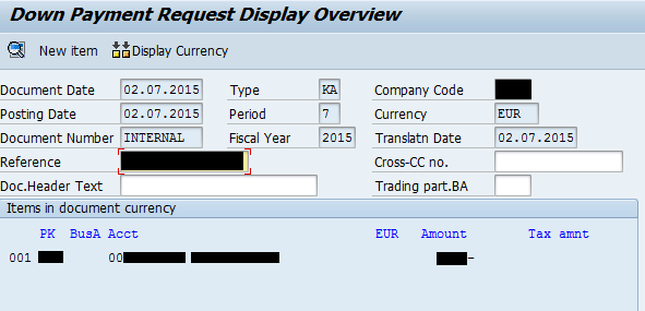SAP VIM Create Down Payment Request