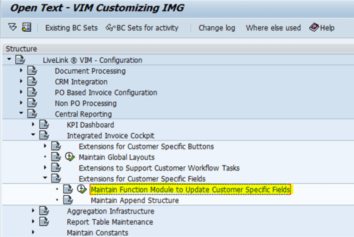 Maintain Function Module to Update Customer Specific Field