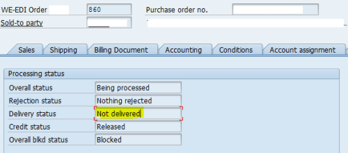 SAP Order Delivery Status For Sales Document (Functional And