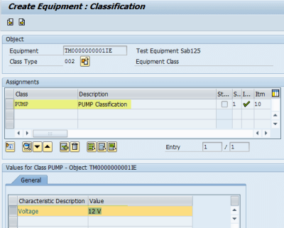 IE01: Create Equipment Classification
