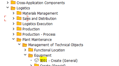 IE01: Create Equipment in SAP PM