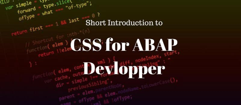 Short Introduction to CSS for ABAP Developper